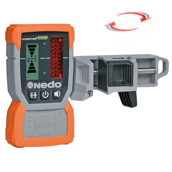 Laserový přijímač Nedo Acceptor 2 s držákem, Držák na lať standardní (plast), Laserová lať bez latě