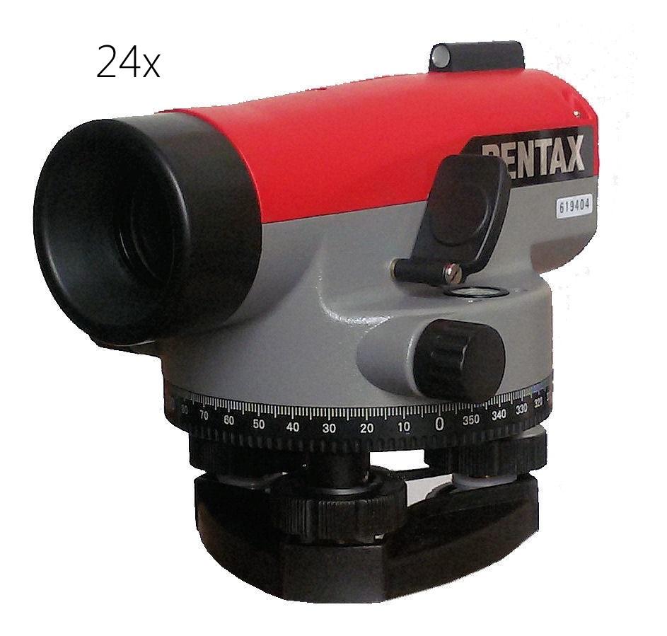 Optický nivelační přístroj Pentax AP-224, Nivelační lať teleskopická 5m, E-vzor, Stativ bez stativu, Nivelační podložka bez podložky