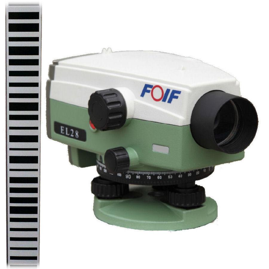 Digitální nivelační přístroj Foif EL28, Nivelační lať bez latě, Stativ bez stativu, Nivelační podložka podložka 1 ks