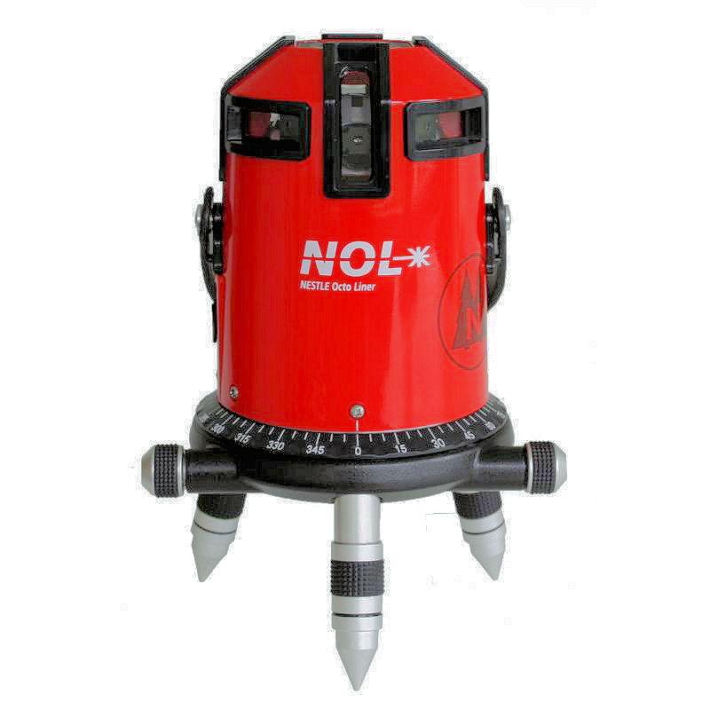 Křížový laser Nestle Octoliner, Lať laserová lať s posuvným jezdcem TLL-1, Stativ bez stativu, Typ sady Standardní sada