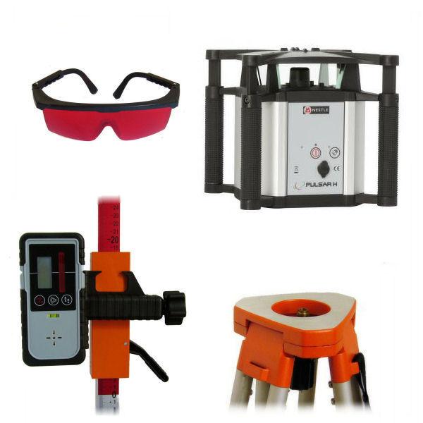 Rotační nivelační laser pro exteriér, Přijímač DR (v ceně), Lať laserová lať s posuvným jezdcem TLL-1, Stativ robustní hliníkový stativ (1,65m)