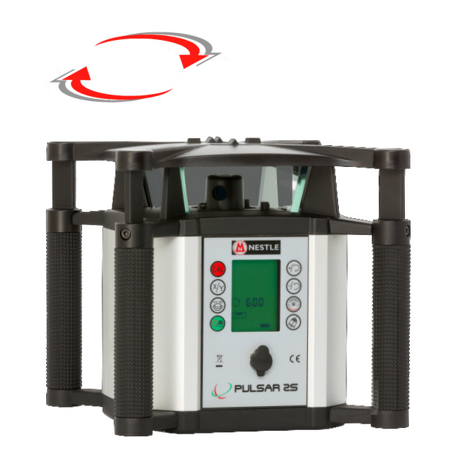 Sklonový rotační laser Nestle Pulsar 2S, Přijímač DR (v ceně), Lať bez laserové latě, Stativ robustní hliníkový stativ (1,65m)