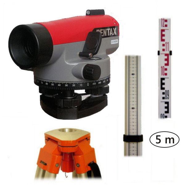 Nivelační set Pentax 305, Nivelační lať teleskopická 5m, E-vzor, Stativ stativ s rovnou hlavou, Nivelační podložka bez podložky
