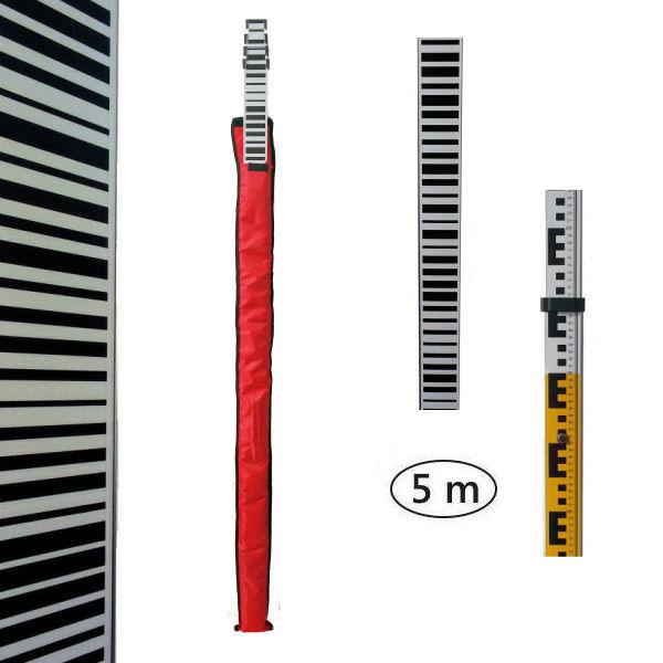 Teleskopická nivelační lať s čárovým kódem 5m, Obal obal v ceně, Příložná libela bez libely, Nivelační podložka podložka 2 ks