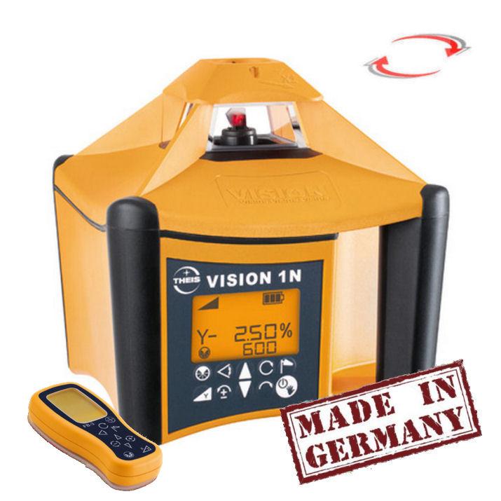 Rotační laser Theis Vision 1N s dálkovým ovladačem, Přijímač TE-6 (v ceně), Lať bez laserové latě, Stativ bez stativu